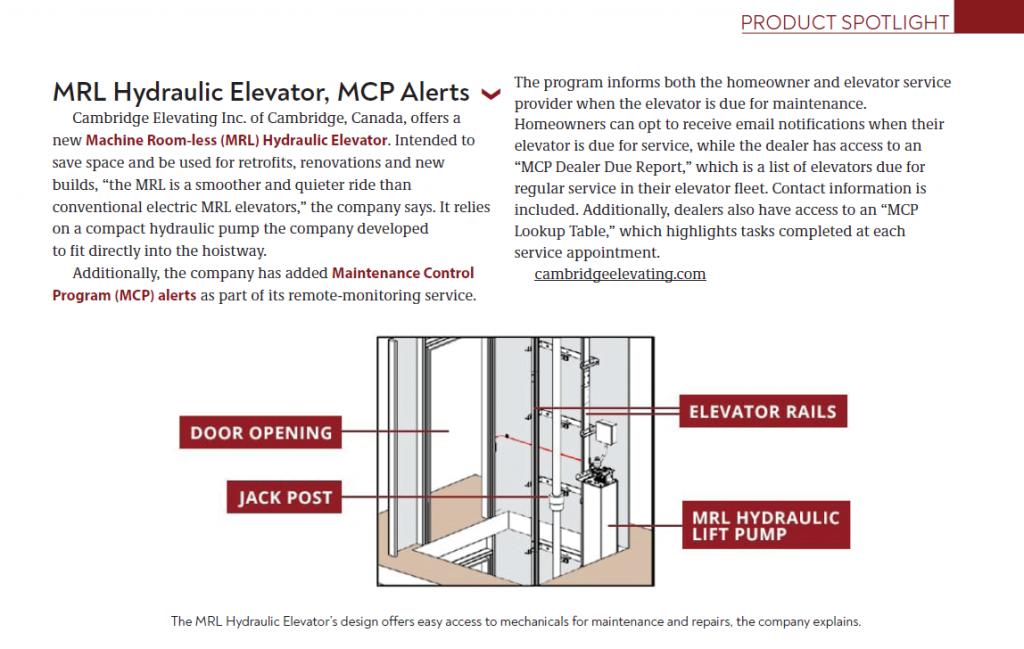 MRL Hydraulic Elevator